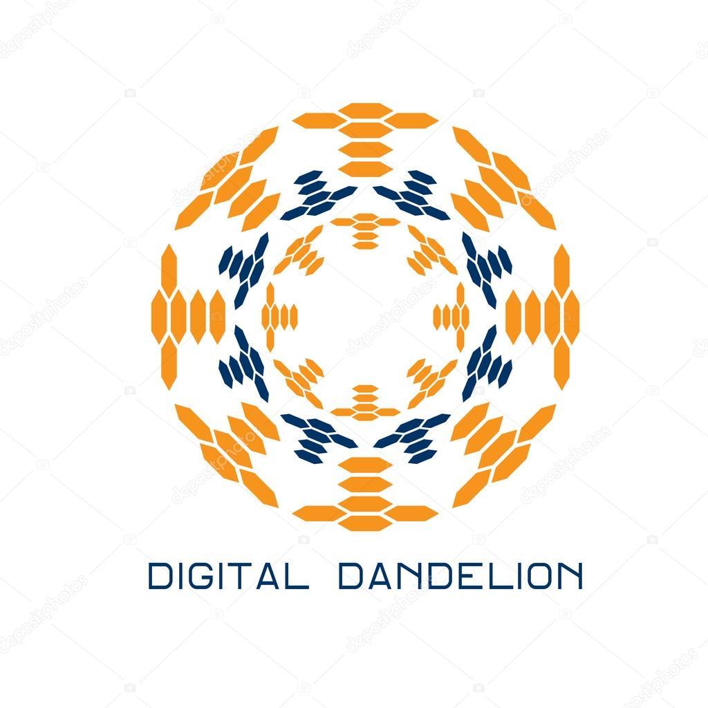 Illustration of concept digital dandelion. Vector logo