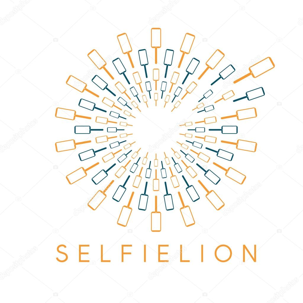 dandelion with phones and selfie stick vector design concept