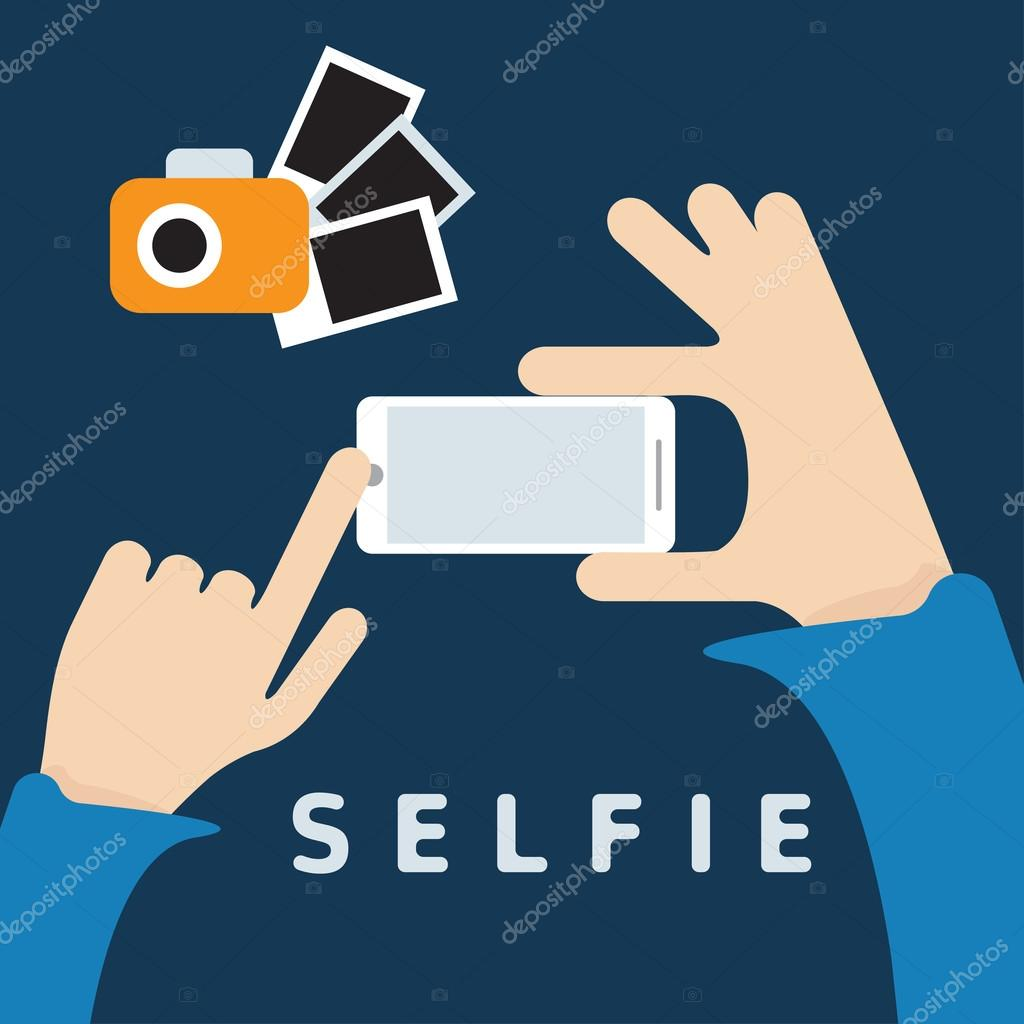 selfie trendy with smartphone and hands flat design