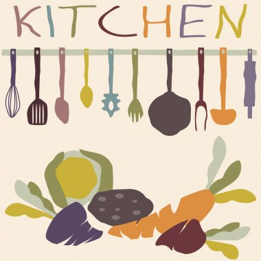 kitchen utensils set and vegetables vector design template