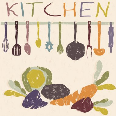 kitchen utensils set and vegetables grunge vector design templat