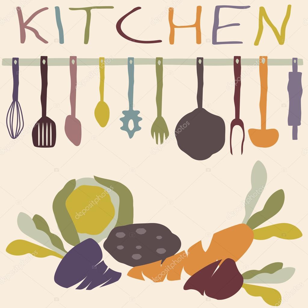 Set de utensilios de cocina y verduras vector plantilla de - Utensilios de cocina de diseno ...