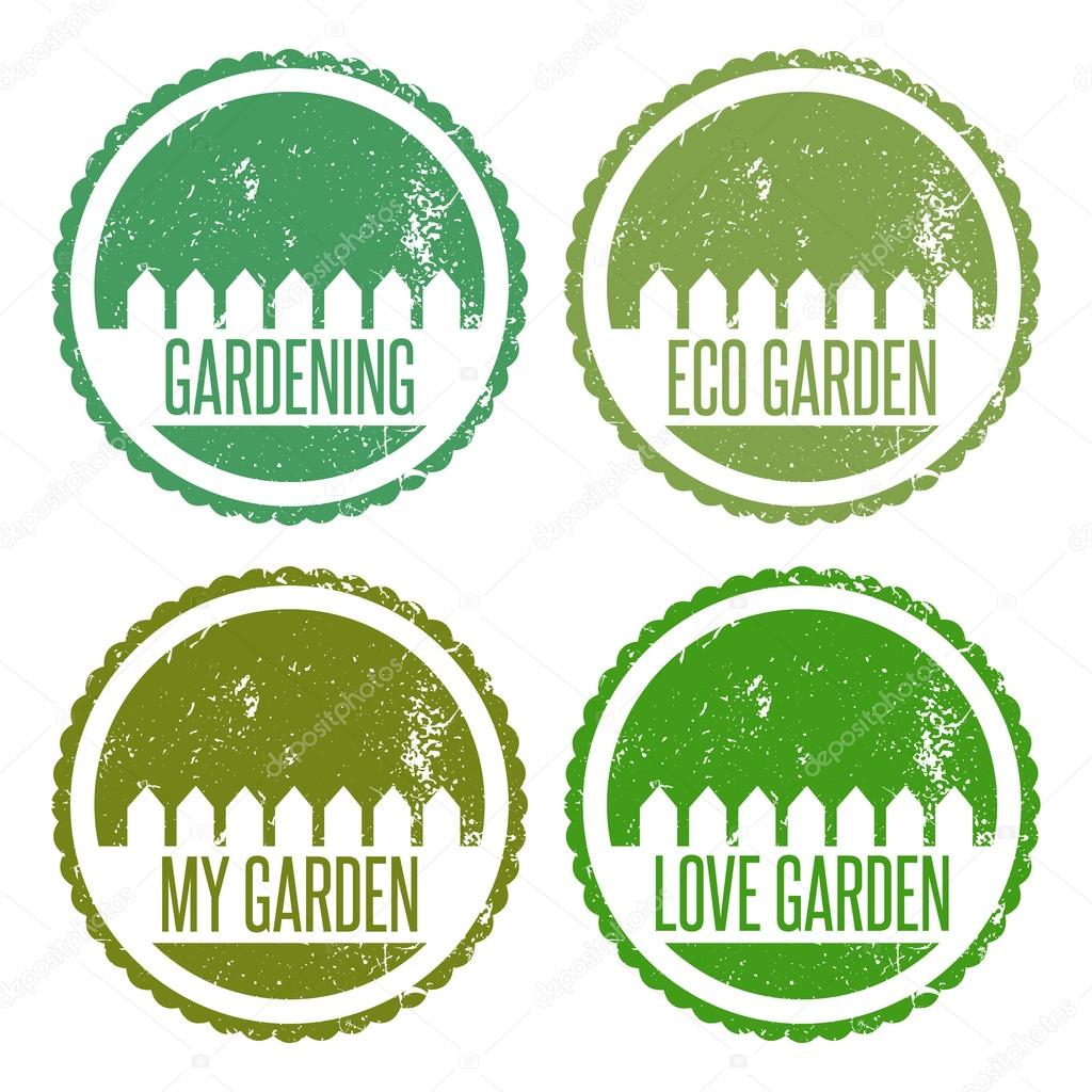 Set of illustration garden labels.Vector
