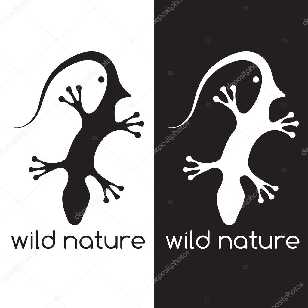 lizard and head of bird negative space concept