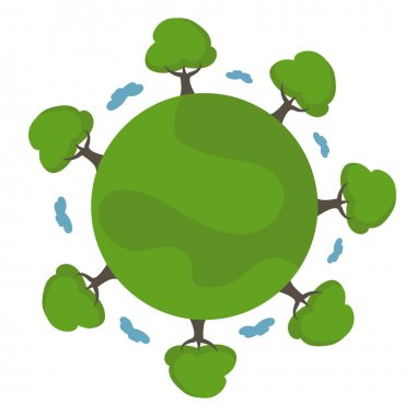 Illustration of cartoon earth with trees. vector