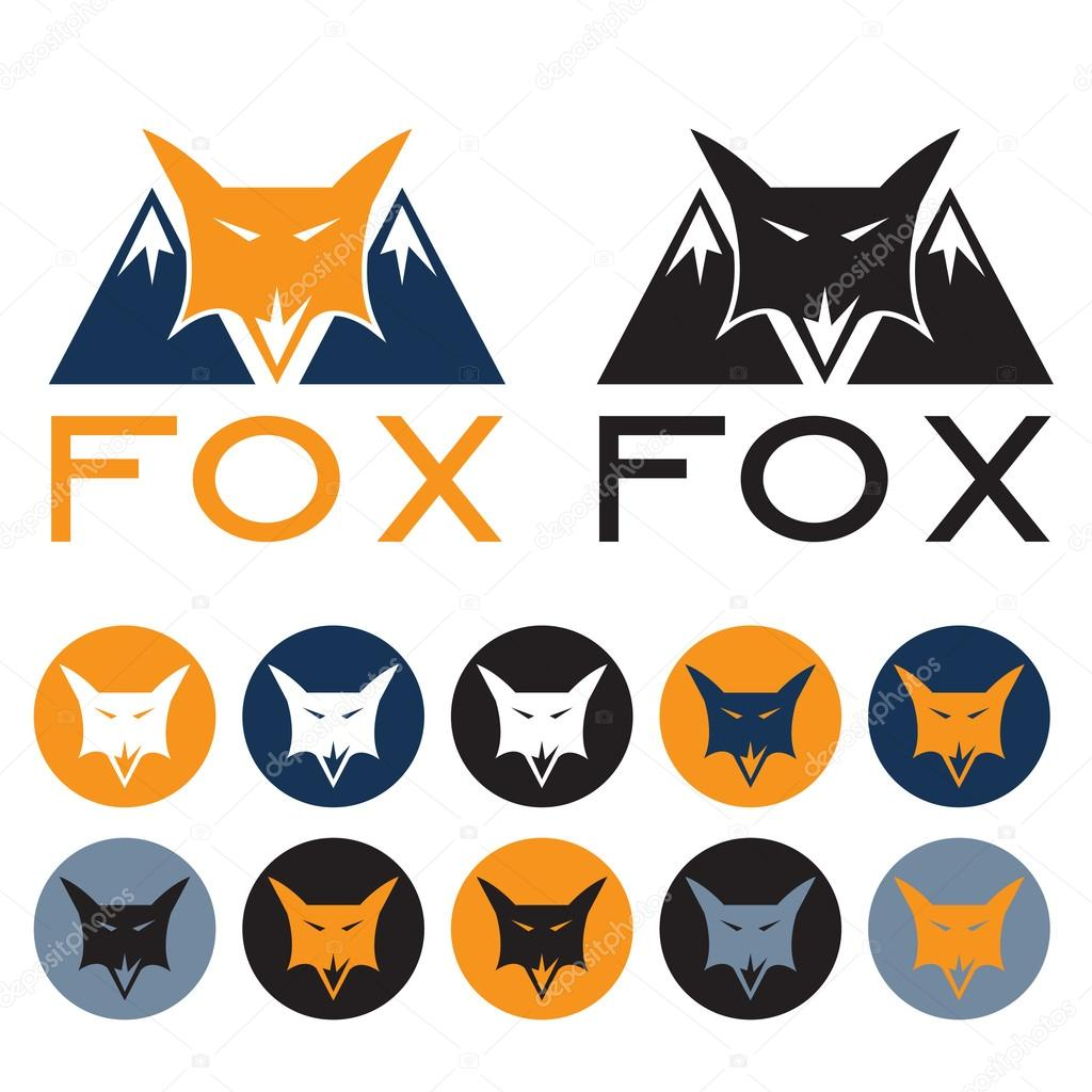 mountain fox vector design template and web icons