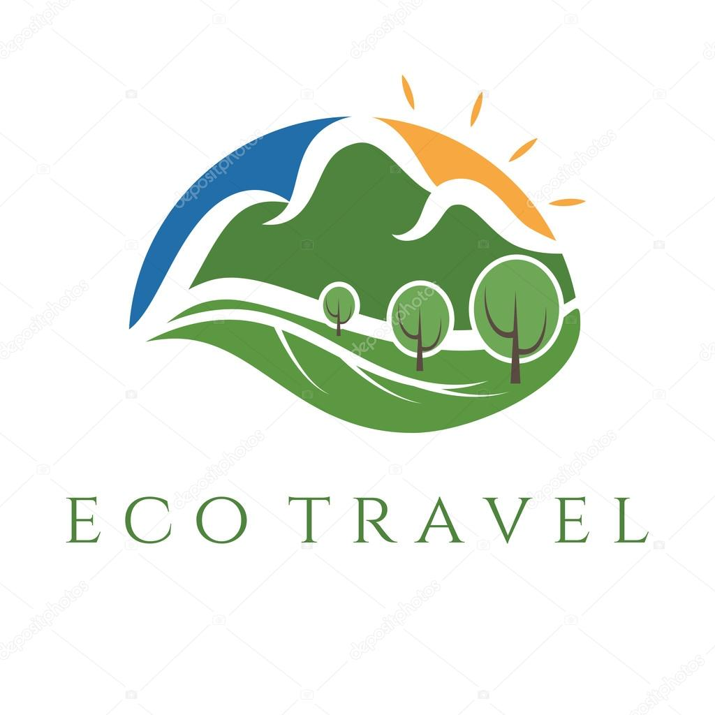 eco travel illustration wit mountains and trees