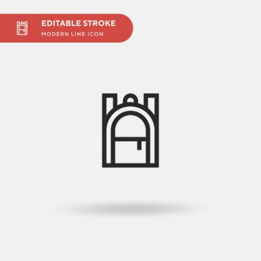 Backpack Simple vector icon. Illustration symbol design template for web mobile UI element. Perfect color modern pictogram on editable stroke. Backpack icons for your business project icon