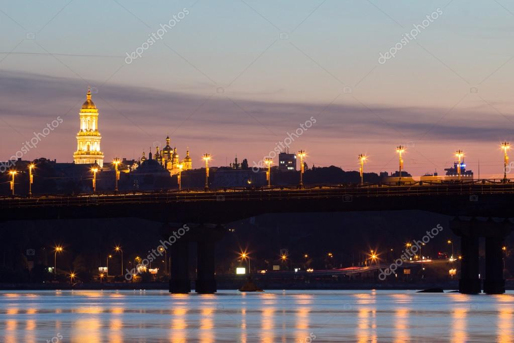 Beautiful Kiev skyline at sunset, Ukraine