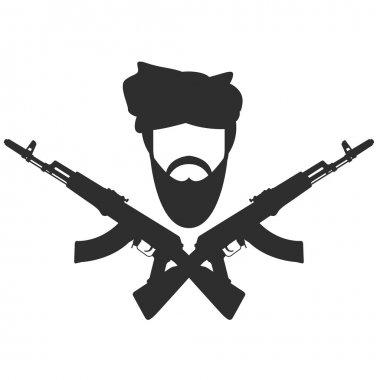 Man in turban two crossed AK-47 terroristm symbol