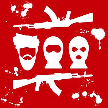Symbol of terrorism - man in turban, balaclava and two crossed AK-47