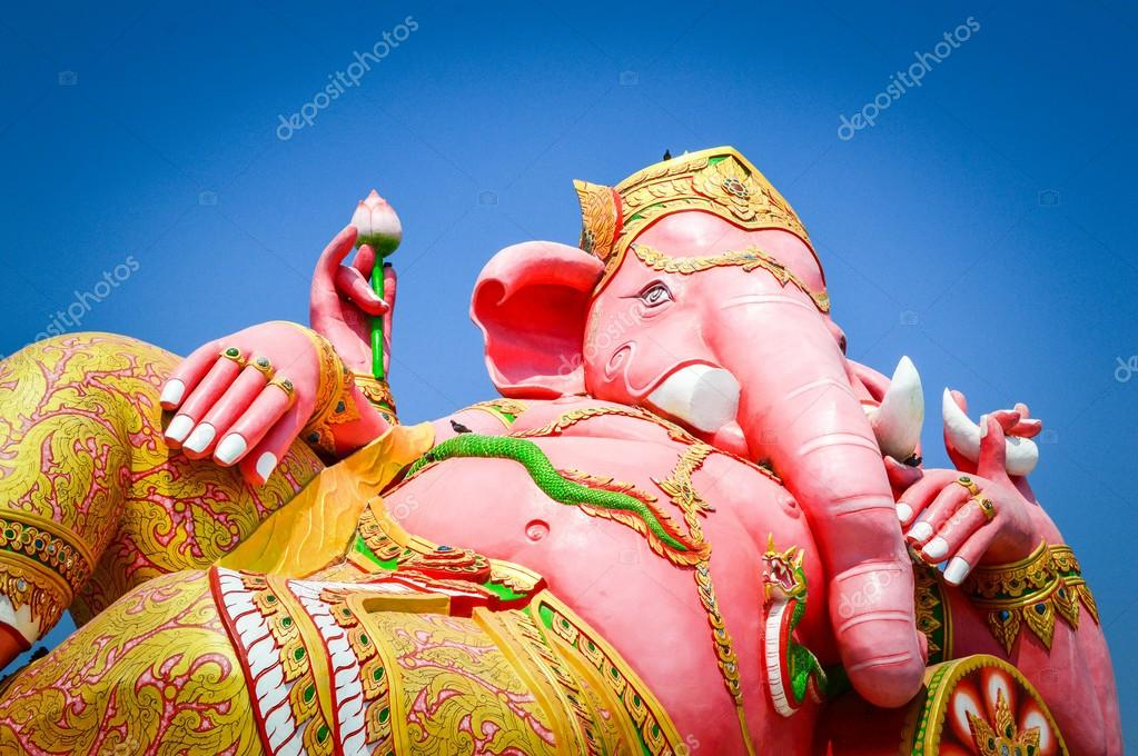 Pink Ganesh statue in Temple Thailand