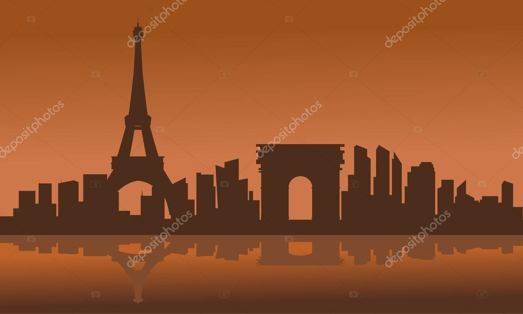 Silhouette of eiffel tower with brown background