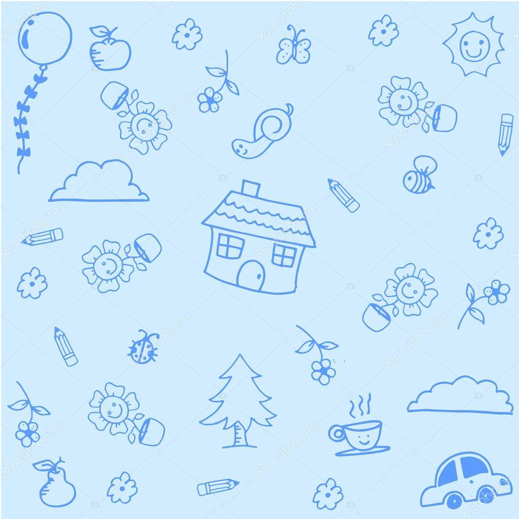 casa doodle arte con fondos azul archivo im genes vectoriales wongsalam77 109917182. Black Bedroom Furniture Sets. Home Design Ideas