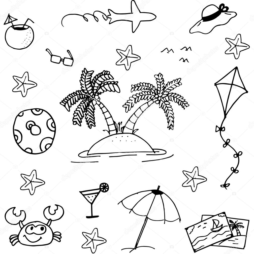 doodle of beach vector art stock vector wongsalam77 111497070