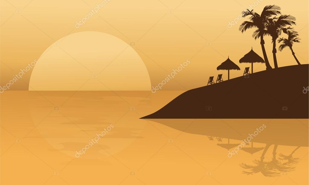 Summer holiday in beach silhouette