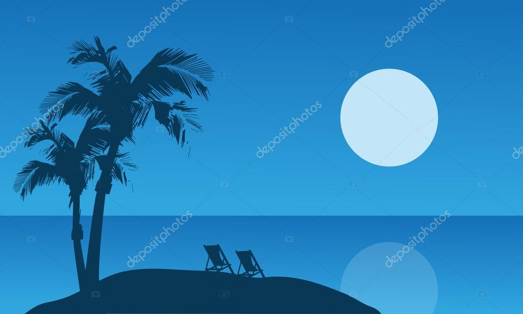Summer holiday silhouette at the night