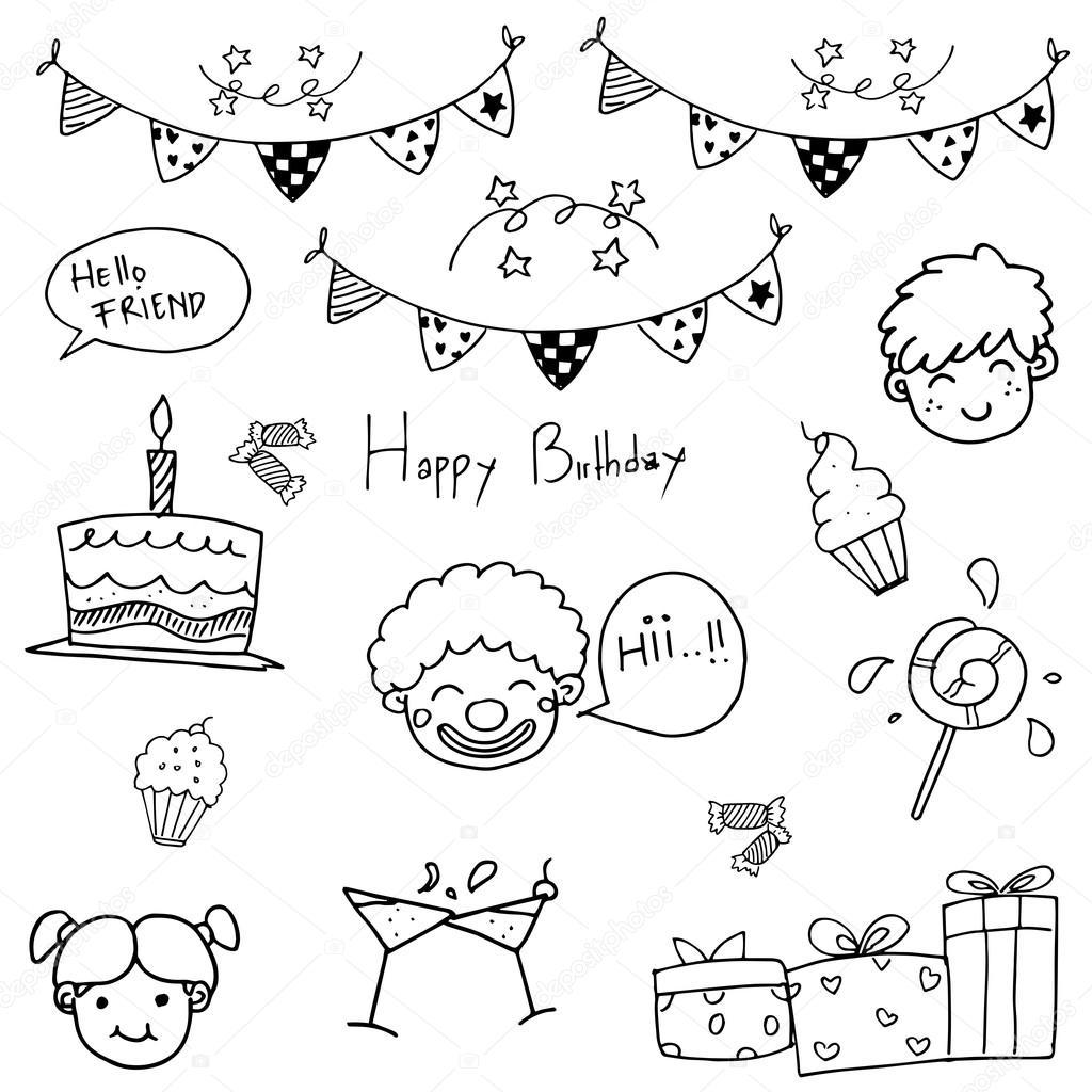 Hand Zu Zeichnen Geburtstag Doodle Stockvektor C Wongsalam77