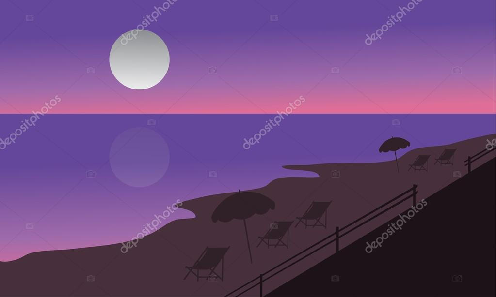 Silhouette of beach at summer holiday