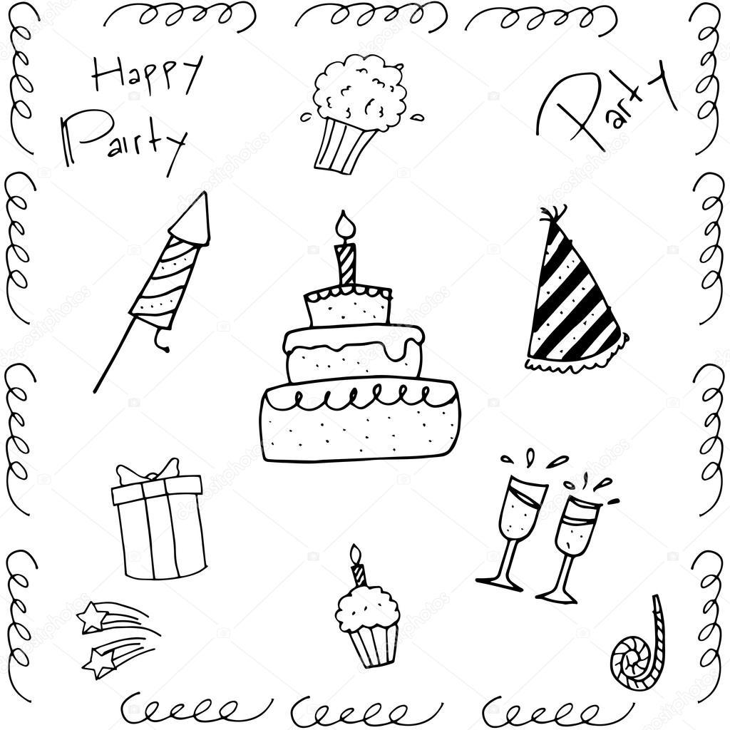 Hand Zeichnen Von Doodle Geburtstag Stockvektor C Wongsalam77
