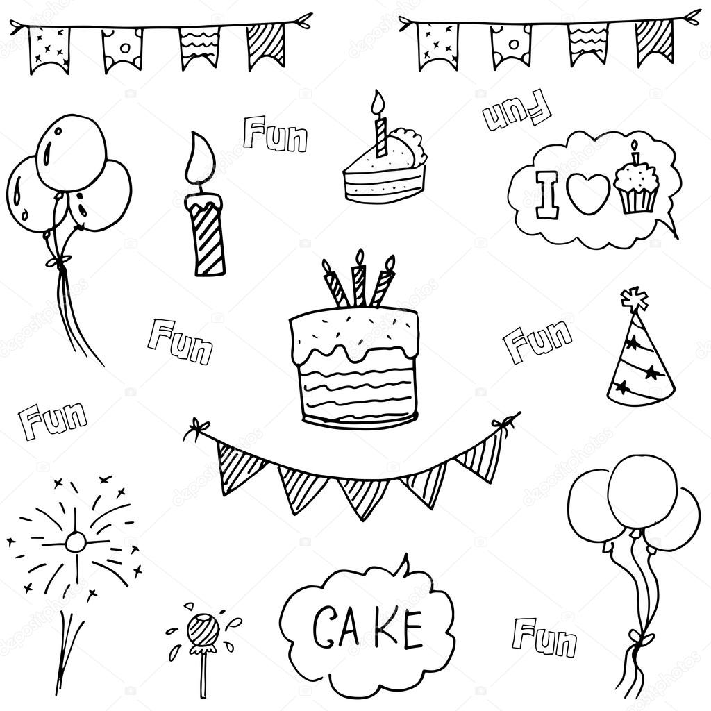 Doodle Vector Art Birthday Party Hand Draw Illustration By Wongsalam77