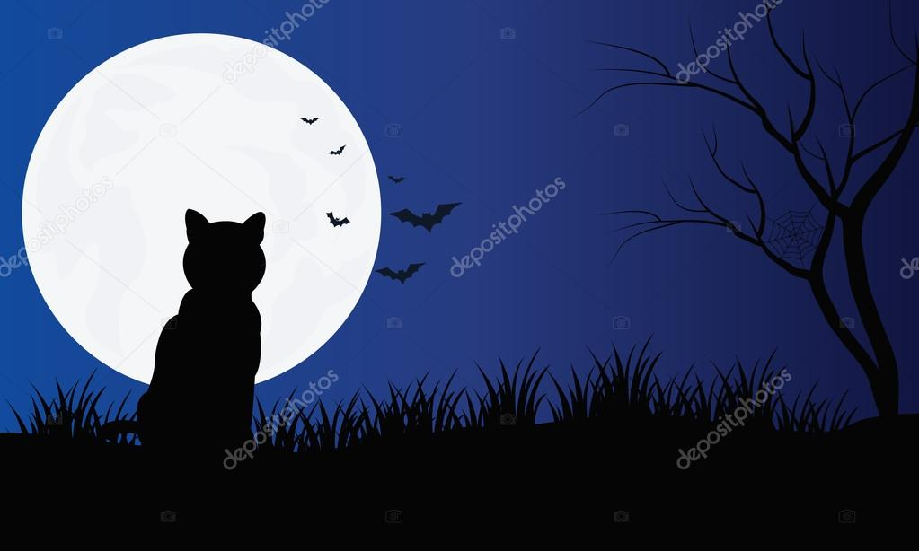 Silueta de gato con luna llena paisajes de Hallowen — Archivo ...