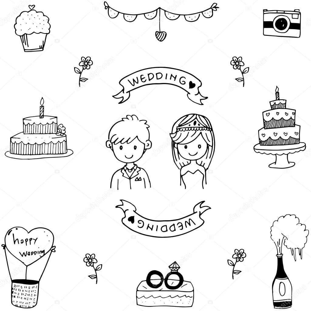 Wedding doodle vector art — Stock Vector © wongsalam77