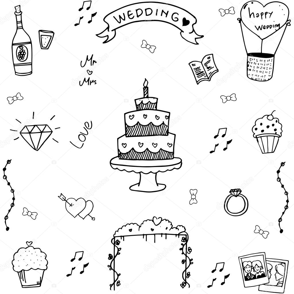 Wedding In Doodle Hand Draw