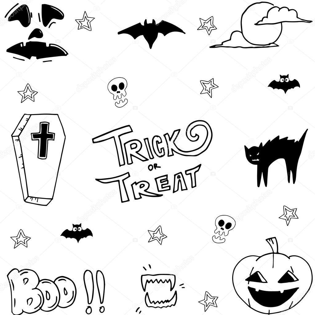 Hand Zu Zeichnen Halloween Set Lager Stockvektor Wongsalam77