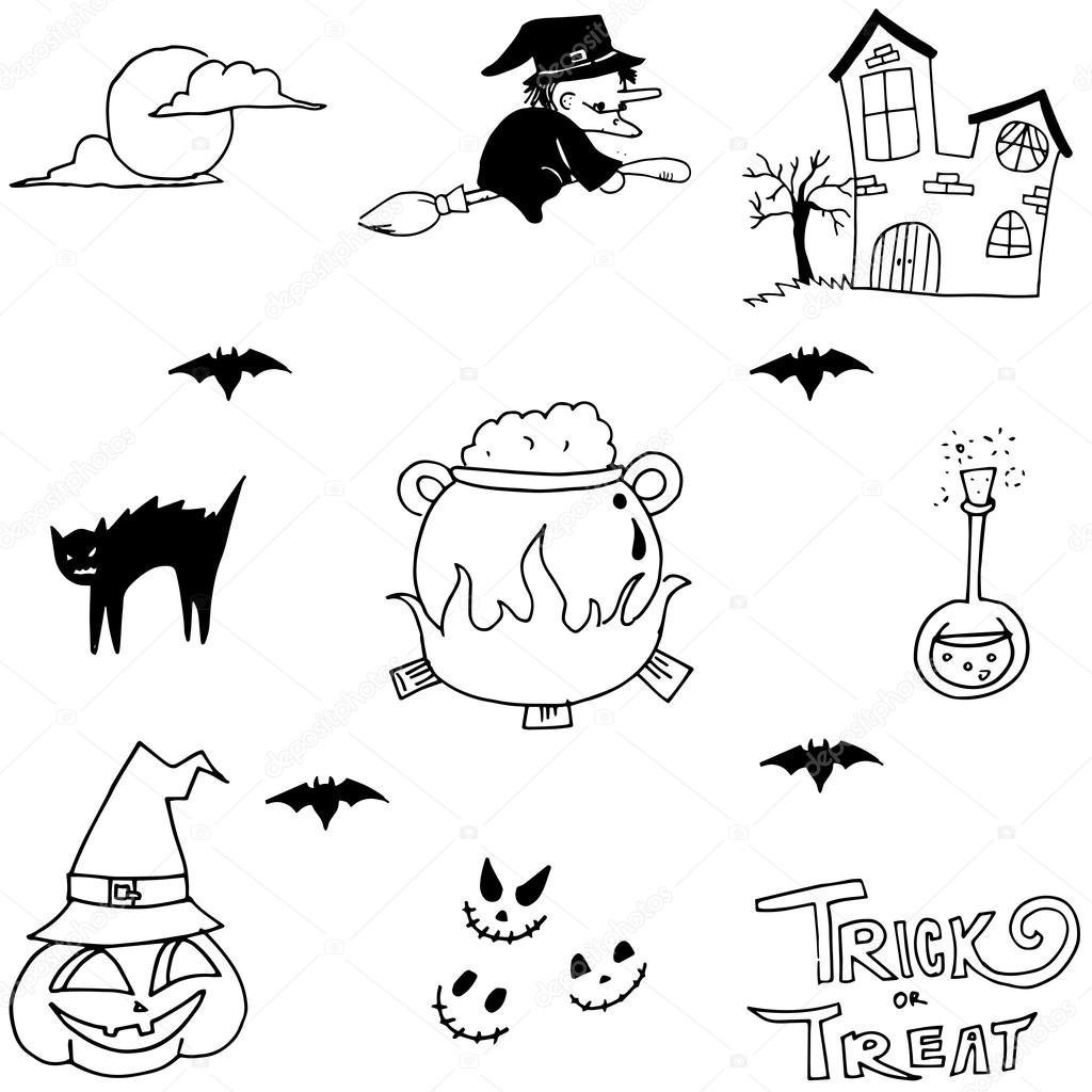 Halloween Hexe Doodle Vektor Stockvektor Wongsalam77 113357348