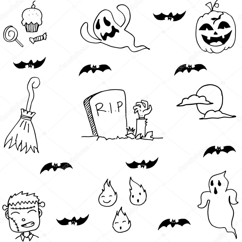 Geist Halloween In Doodle Hand Zeichnen Stockvektor Wongsalam77