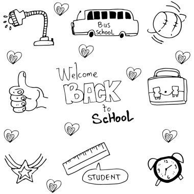 Hand draw element school in doodle