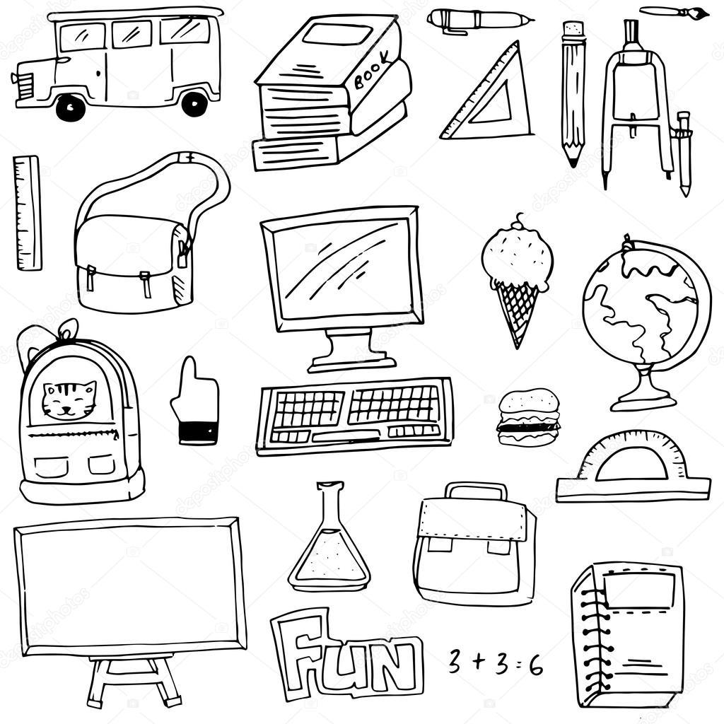 Hand Draw School Supplies Doodles