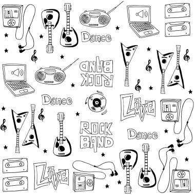 Element music doodles set hand draw