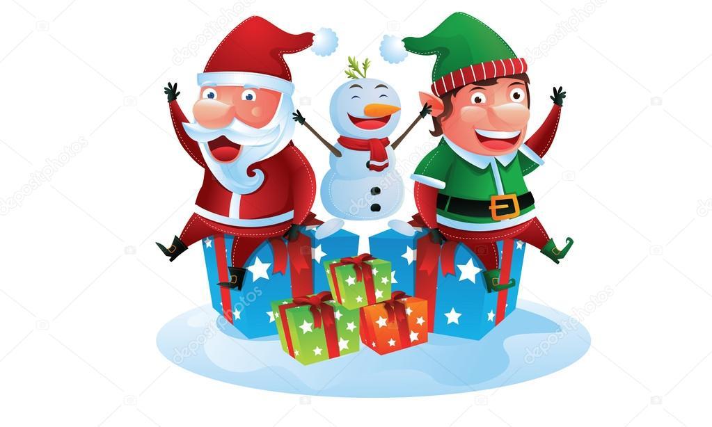 Babbo Natale E Gli Elfi.Babbo Natale Companio Elfo E Pupazzo Di Neve Con Scatole Regalo