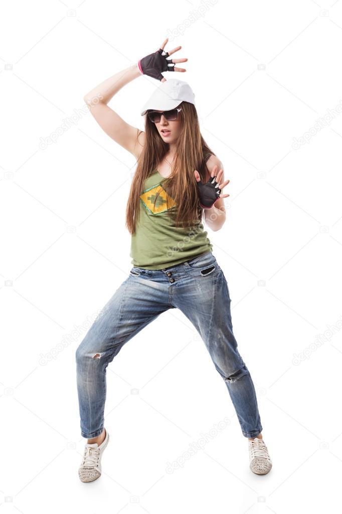 modern hip hop dance girl standing on white stock photo