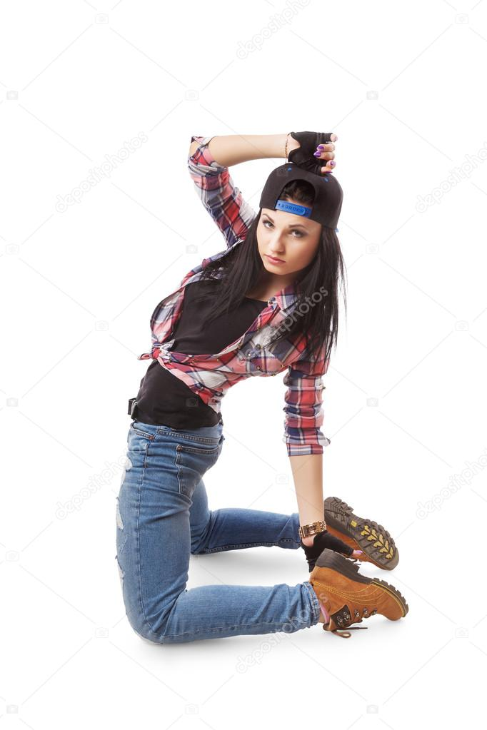 modern hip hop dance girl pose on isolated background stock photo