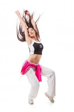 Young modern flexible hip-hop dance girl bends backwards with hanging hair.
