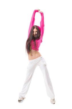 Young modern flexible hip-hop dance girl stretching upwards.