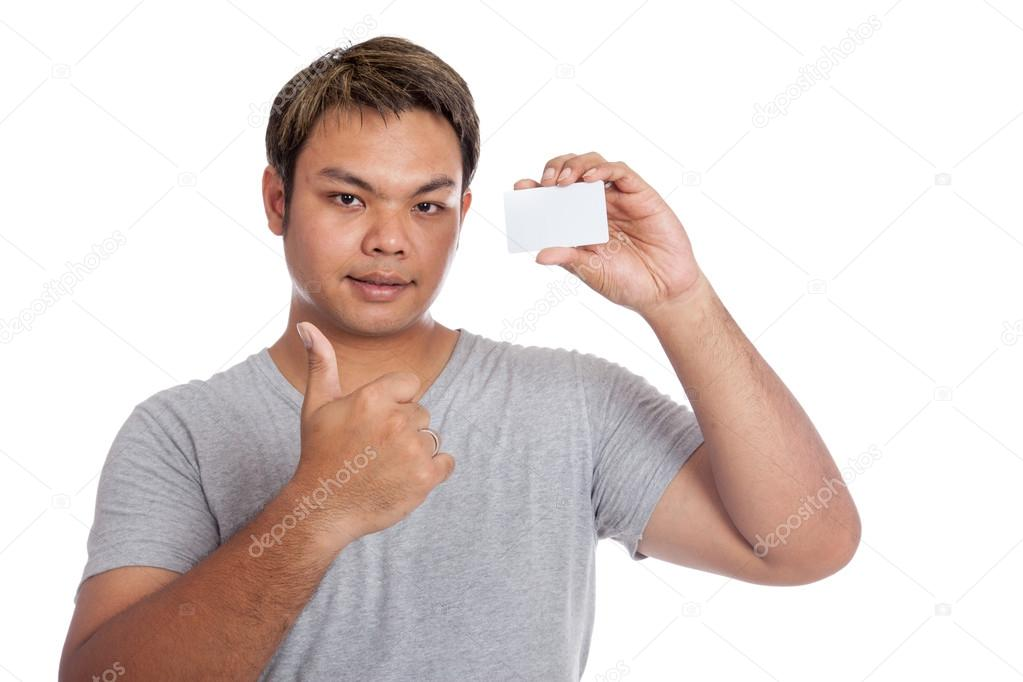 Asian man thumbs up show a blank card isolated on white background — Photo  by Halfbottle