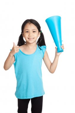 Little asian girl thumbs up with megaphone
