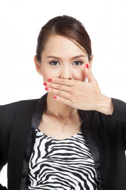 Young Asian business woman close her mouth with hand