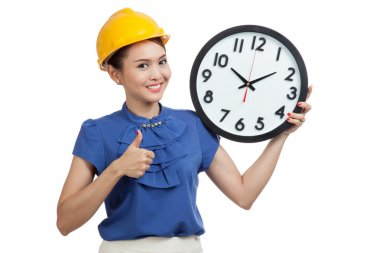 Asian engineer woman thumbs up with a clock