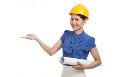 Asian engineer woman with blueprints show her palm hand