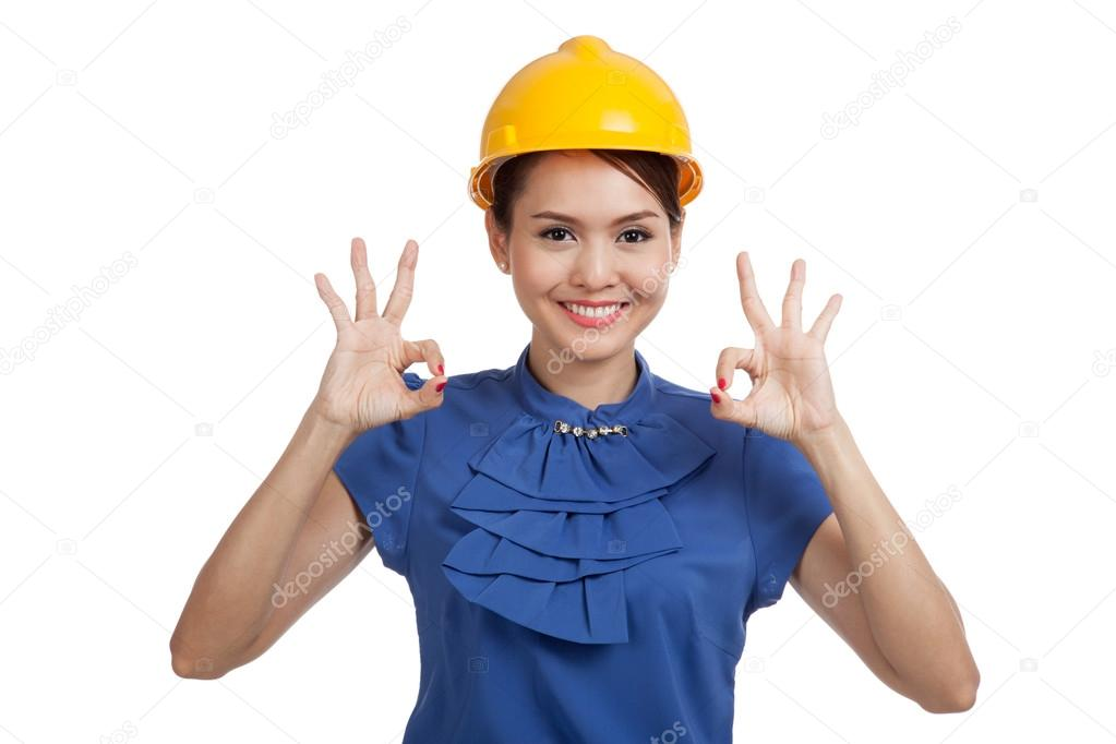 Asian engineer woman show OK with both hands