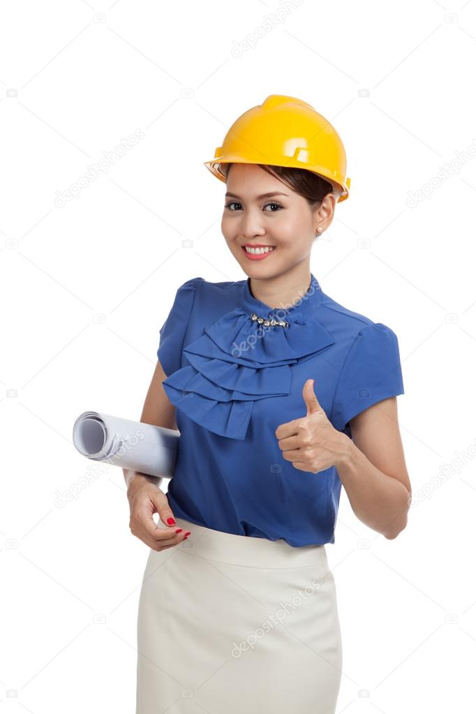 Asian engineer woman with blueprints show thumbs up
