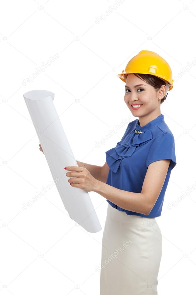 Asian engineer woman with blueprints