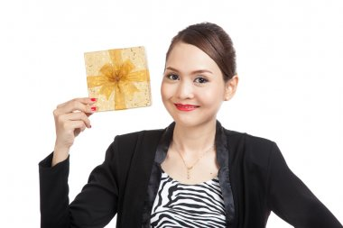 Young Asian business woman with a golden gift box
