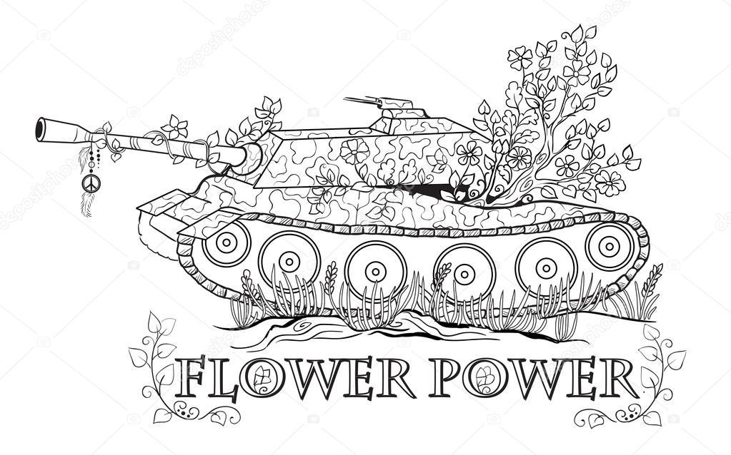 tanque cubierto con flores — Archivo Imágenes Vectoriales © SnowKat ...