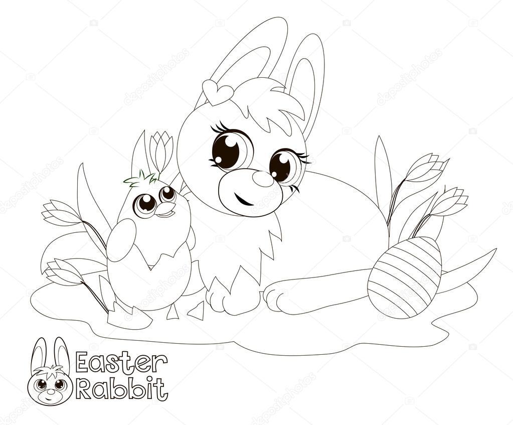Conejito de Pascua y chick. Libro para colorear — Foto de stock ...